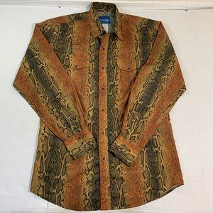 Wrangler Snake Print Pearl Snap Western Shirt LT